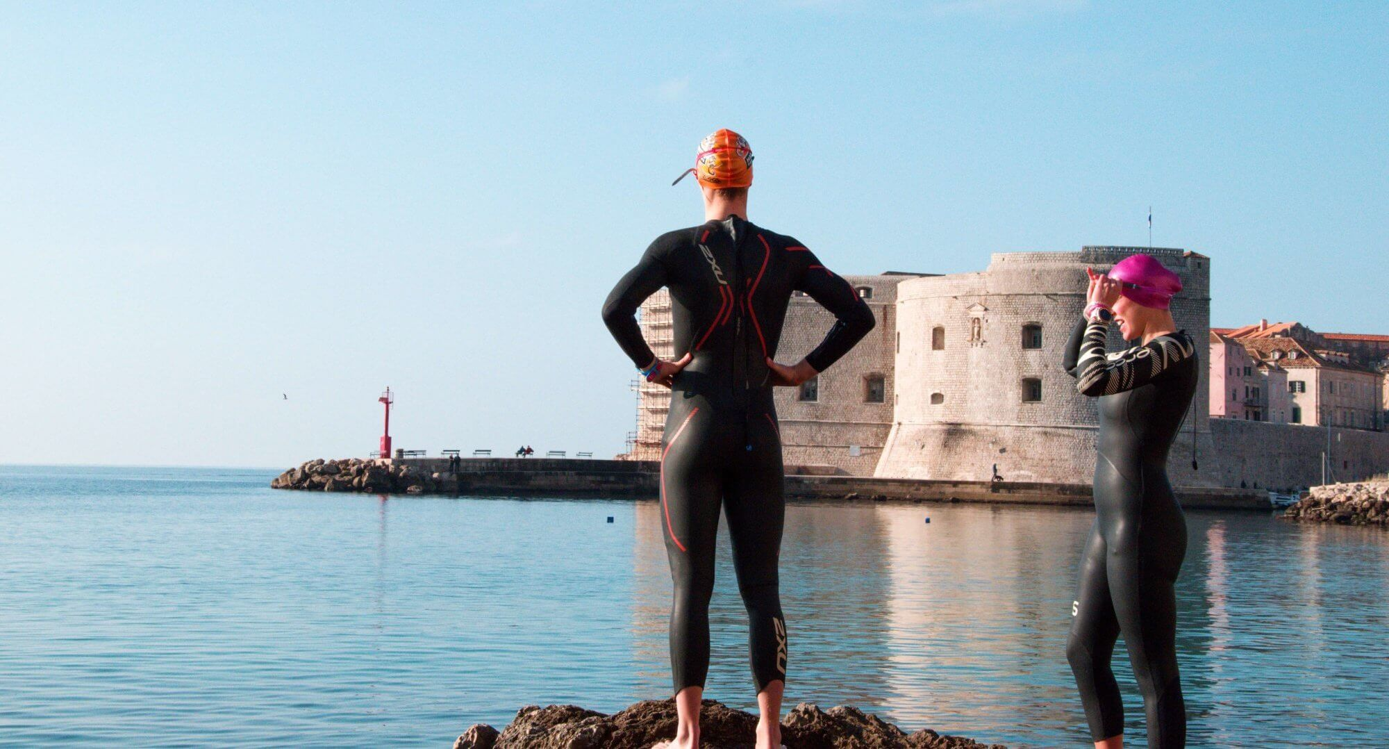Triathlete in Dubrovnik Old Port