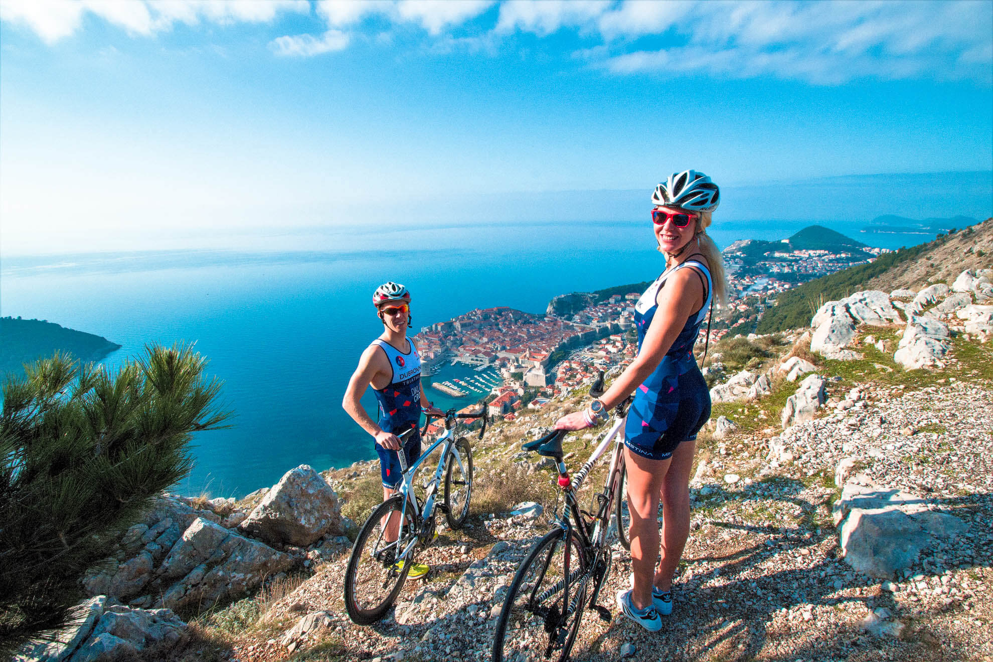 Triathlete biking in Dubrovnik