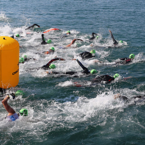 Triathlon Dubrovnik port Gruz green swimmers 2018